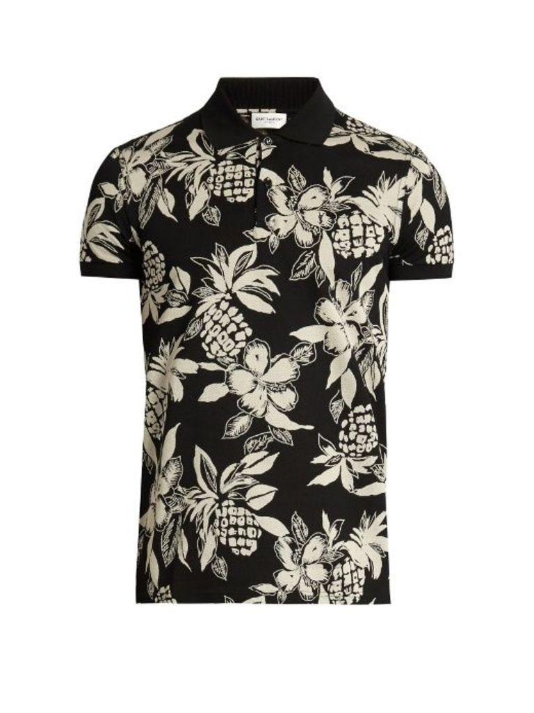Hibiscus-print cotton polo shirt