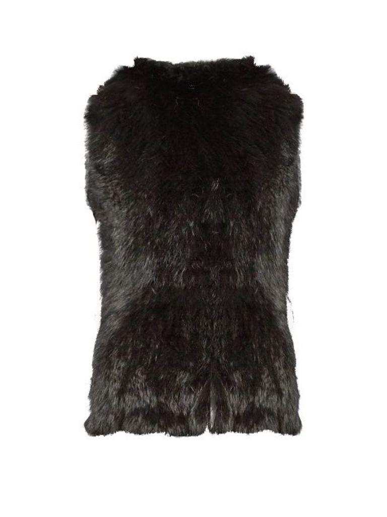 Hooded rabbit-fur gilet