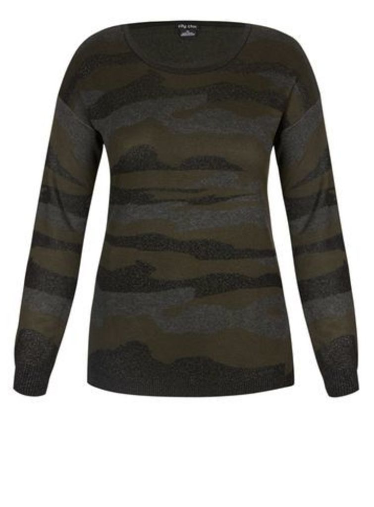 City Chic Camouflage Jumper, Olive