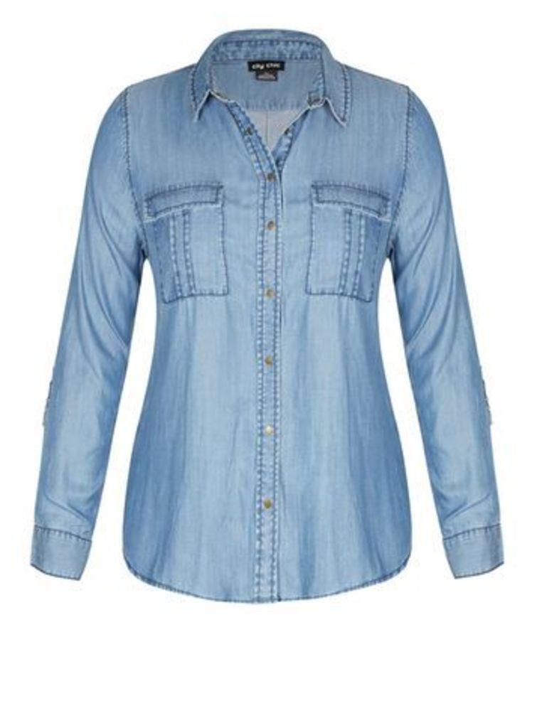 City Chic Denim Casual Shirt, Denim