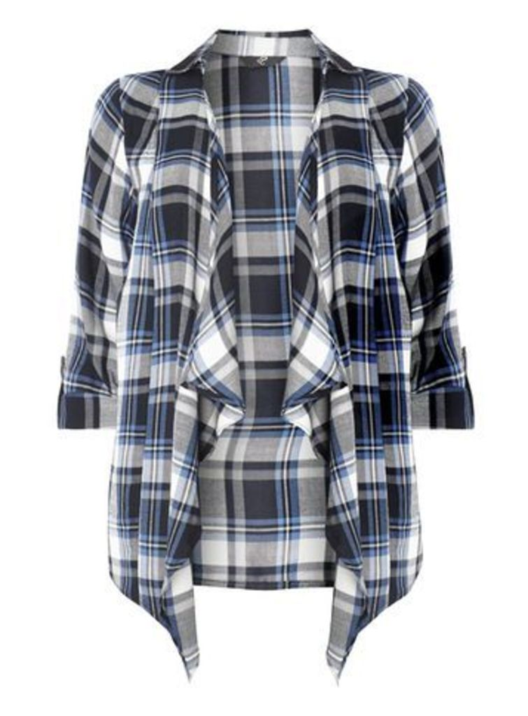 Navy Blue Check Cover Up Top, Blue