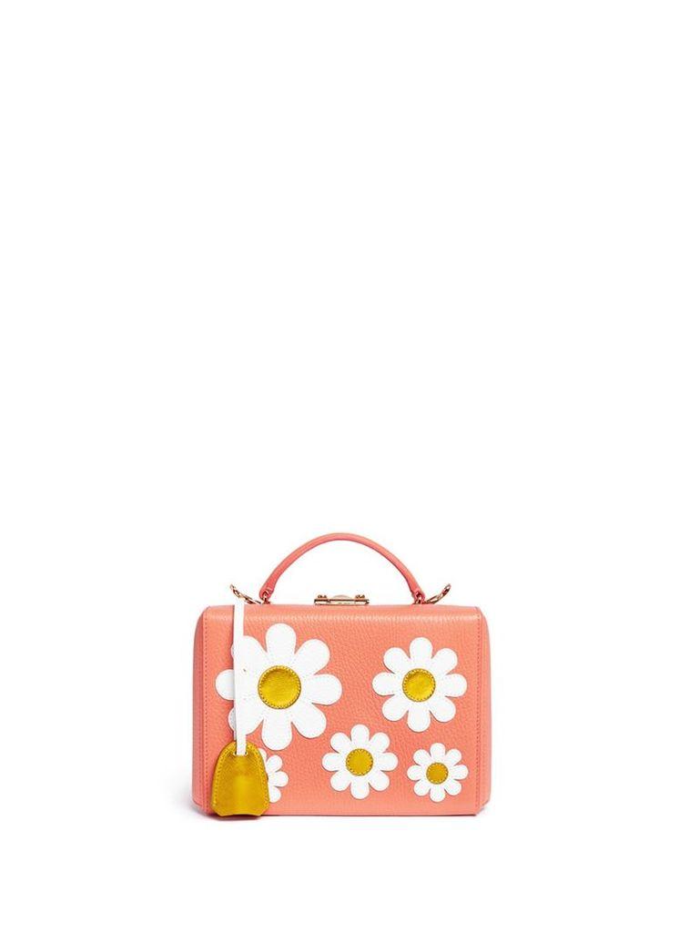 'Grace Small Box' daisy appliqué leather trunk