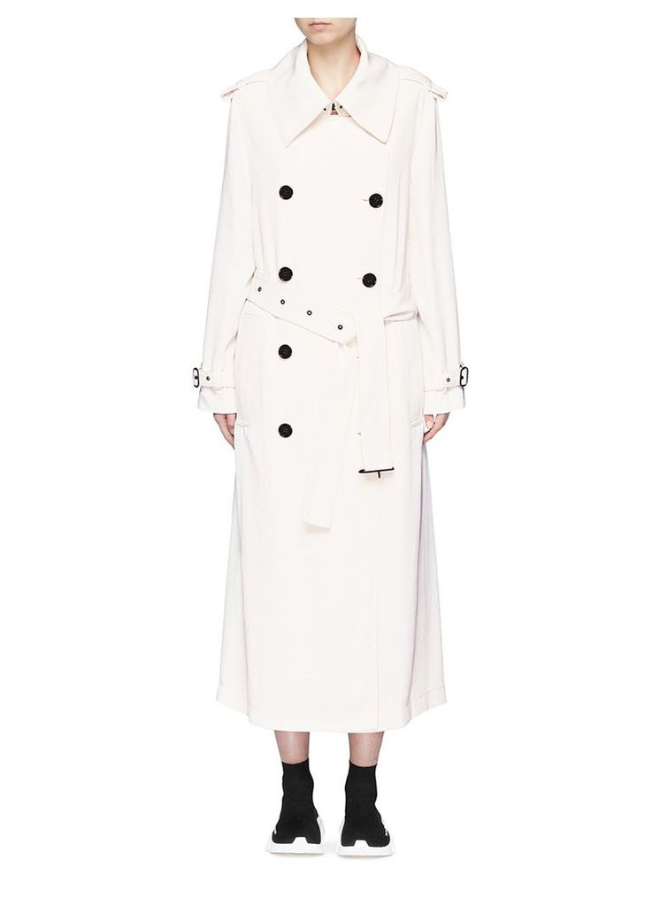 'Lucie' double breasted twill long trench coat