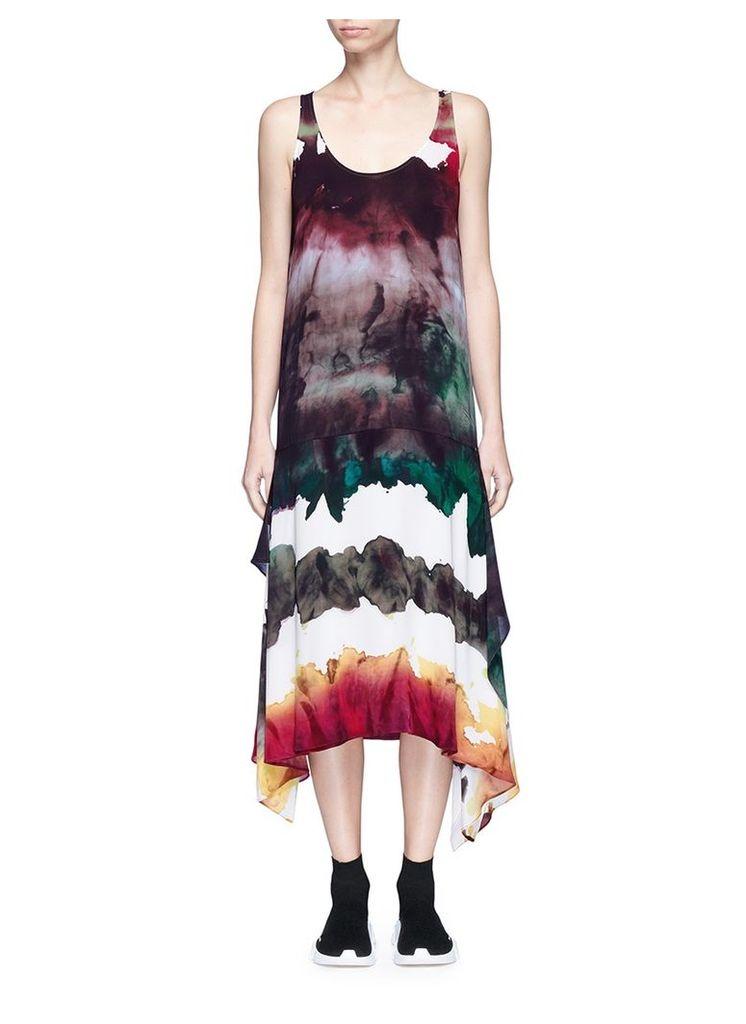 'Saleh' watercolour print georgette dress