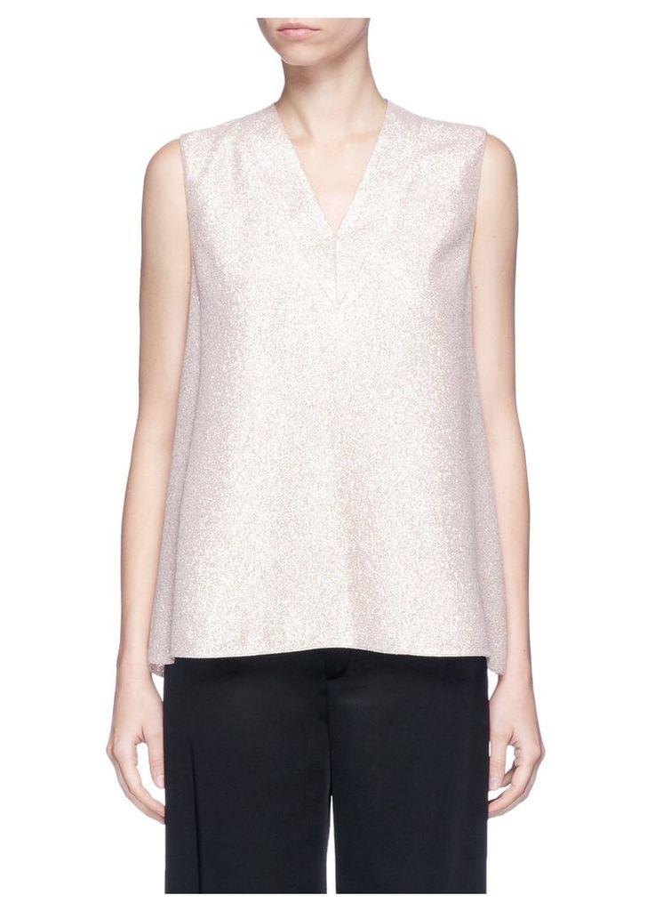 Silk blend lamé sleeveless top