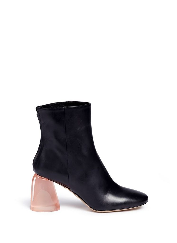 'Sacred' Perspex dome heel leather boots