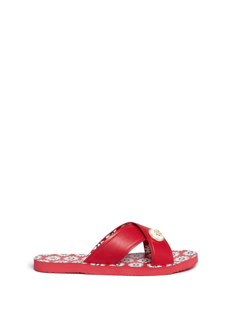 'Melody' logo pearl leather slide sandals