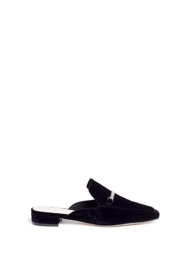 'Kris' strass pavé link velvet loafer slides