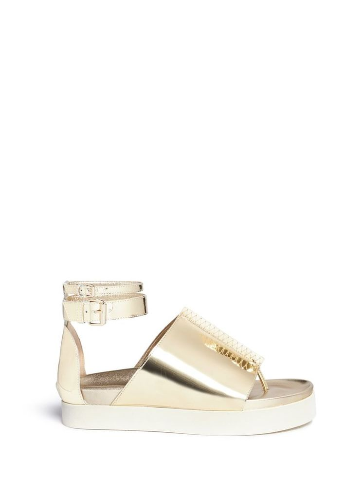 'Rhyme' peaked vamp mirror leather flatform sandals