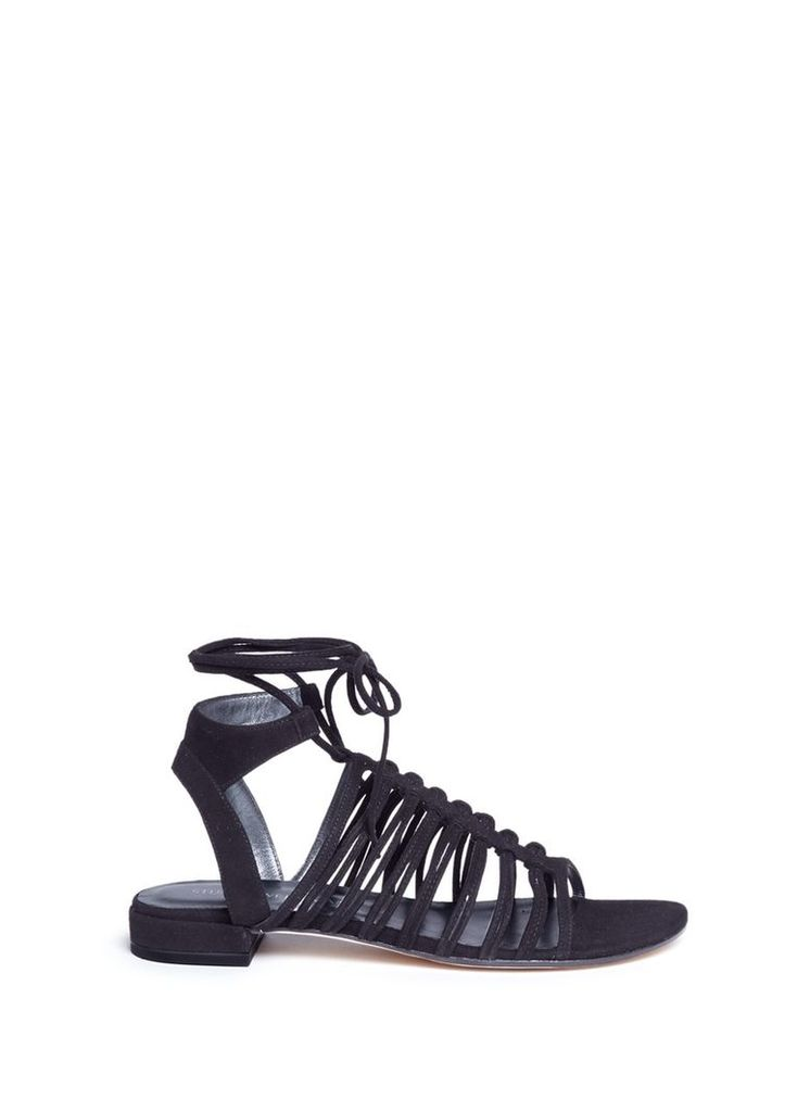 'Knot Again' tie ankle caged suede sandals