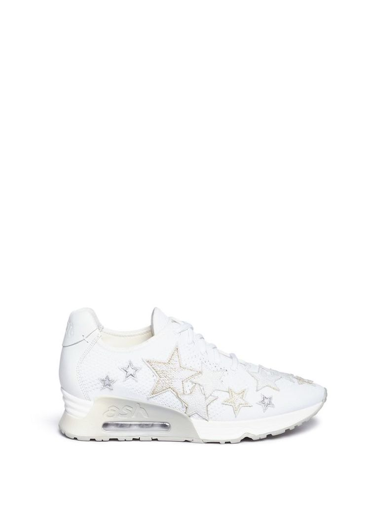 'Lucky Star' appliqué eyelet knit sneakers