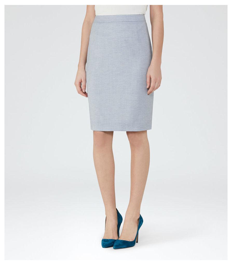 REISS Wren Skirt  - Womens Tailored Pencil Skirt in Blue