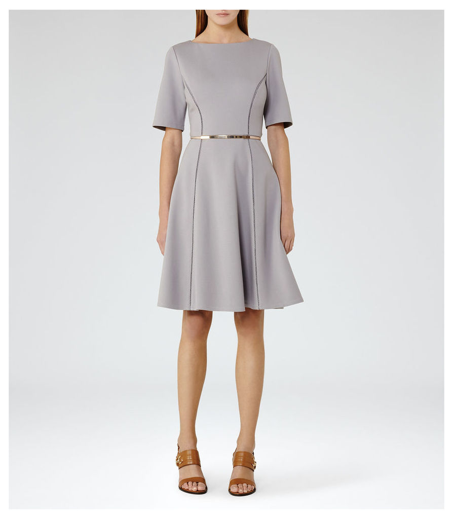 REISS Tianna - Womens Fit And Flare Dress in Blue