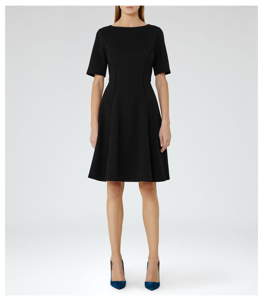 REISS Tianna - Womens Fit And Flare Dress in Black