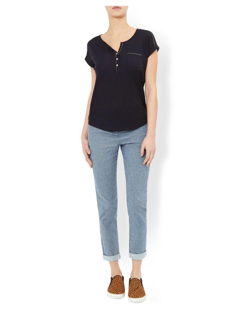 Lucinda Shimmer Thread Short Sleeve Top