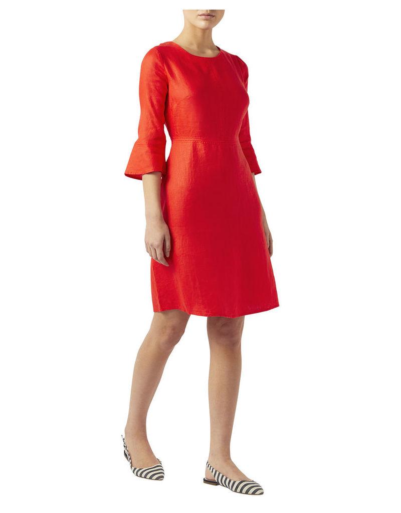 Alma Linen Flute Sleeve Dress