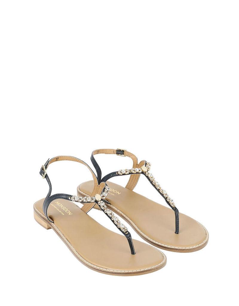 Norah T-Bar Jewel Trim Sandal