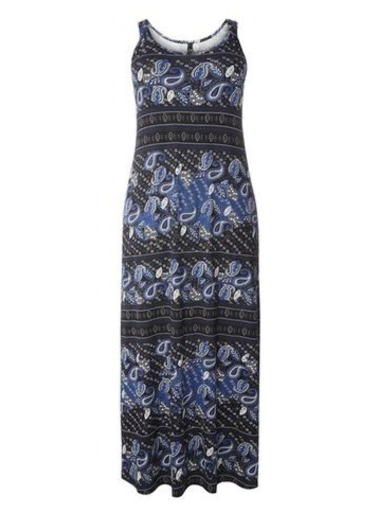 Blue Paisley Print Maxi Dress, Dark Multi