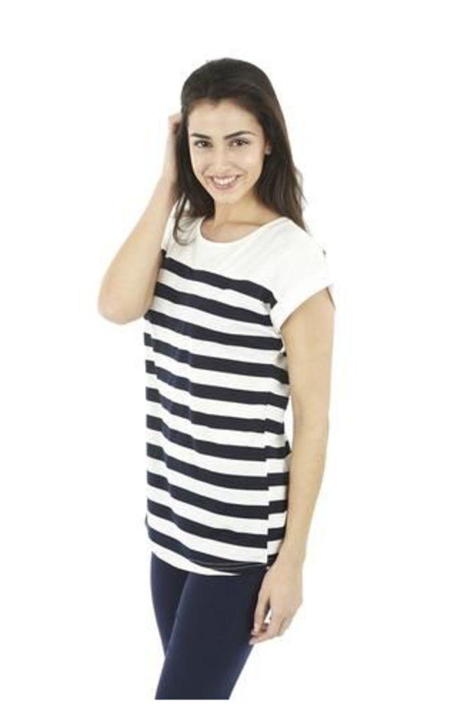 Striped Cuff-Sleeve Top