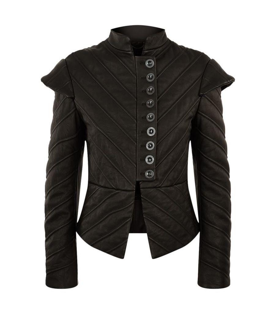 Burberry Runway, Padded Leather Workwear Jacket, Female
