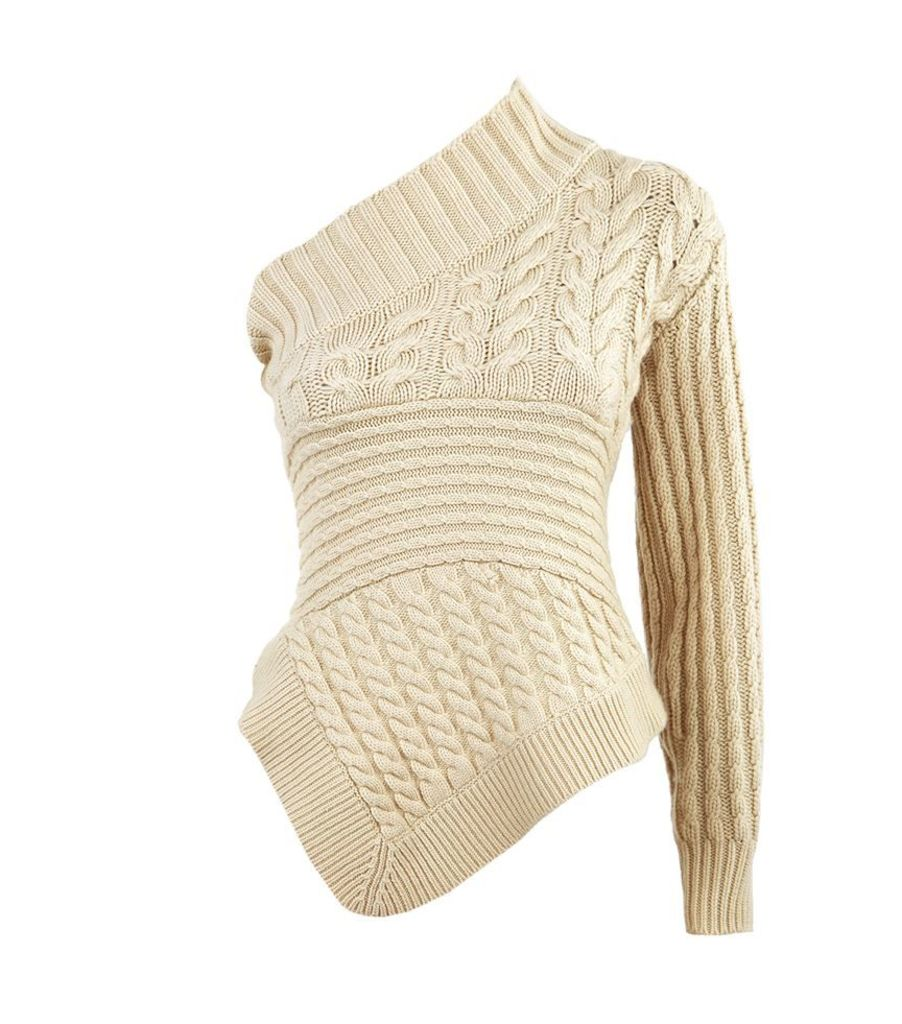 Burberry Runway, Cable Knit One-Shoulder Jumper, Female