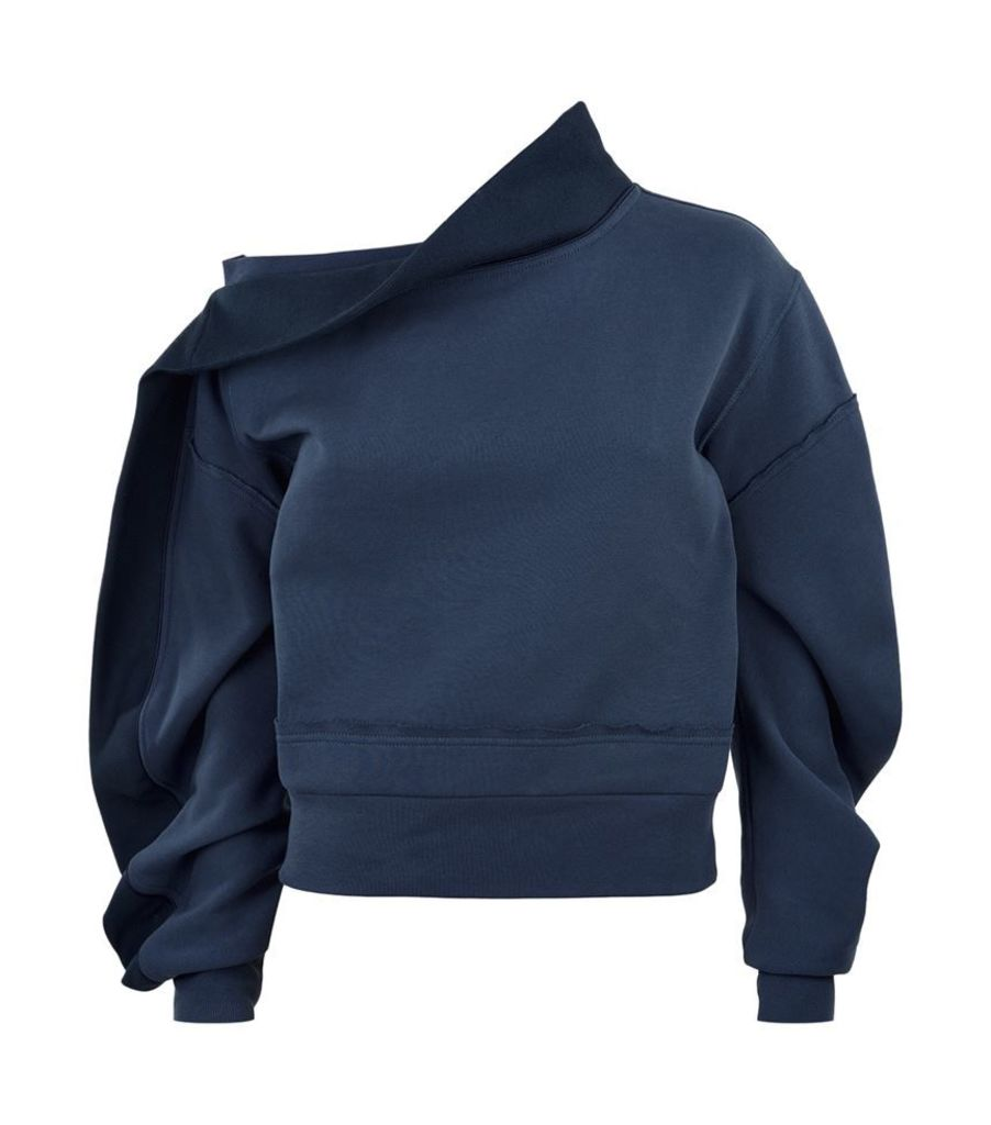 Burberry Runway, Asymmetric Off-The-Shoulder Sweatshirt, Female