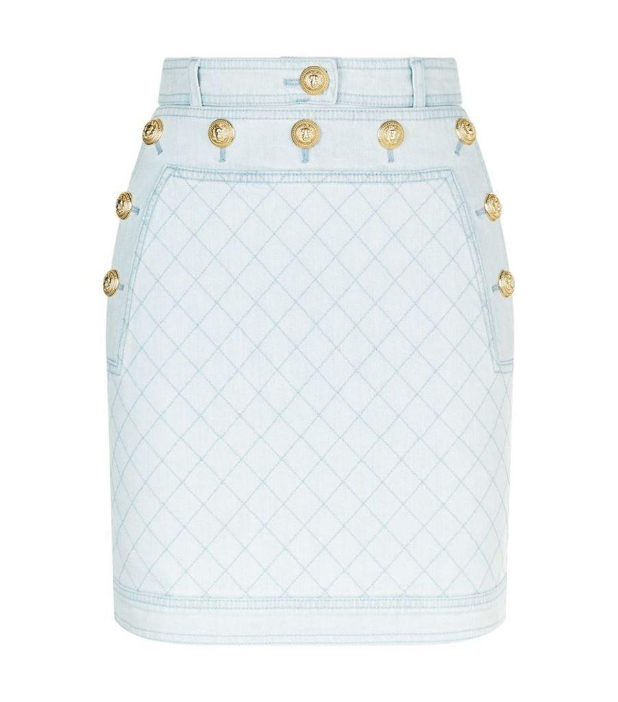 Balmain, Quilted Denim Skirt, Female