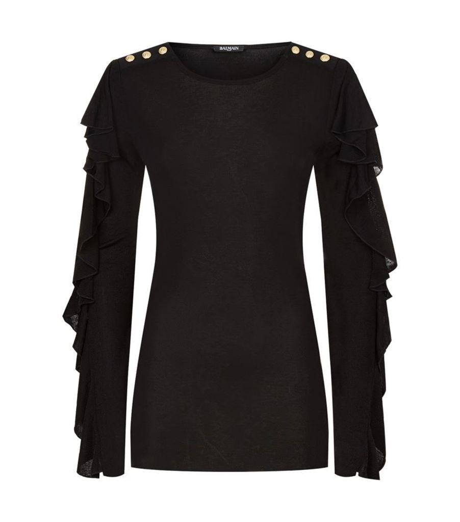 Balmain, Button Ruffle Sleeve Top, Female