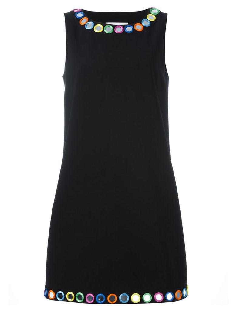 Moschino Kids mirror embroidered shift dress, Women's, Size: 44, Black