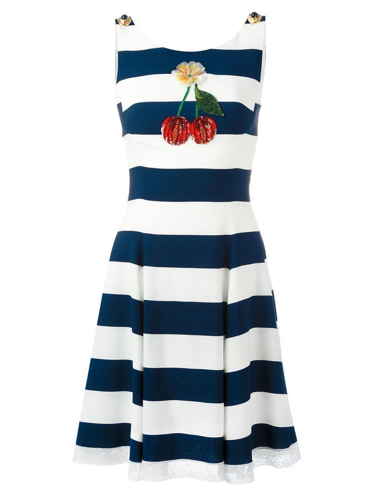 Dolce & Gabbana cherry patch striped dress, Women's, Size: 40, Blue
