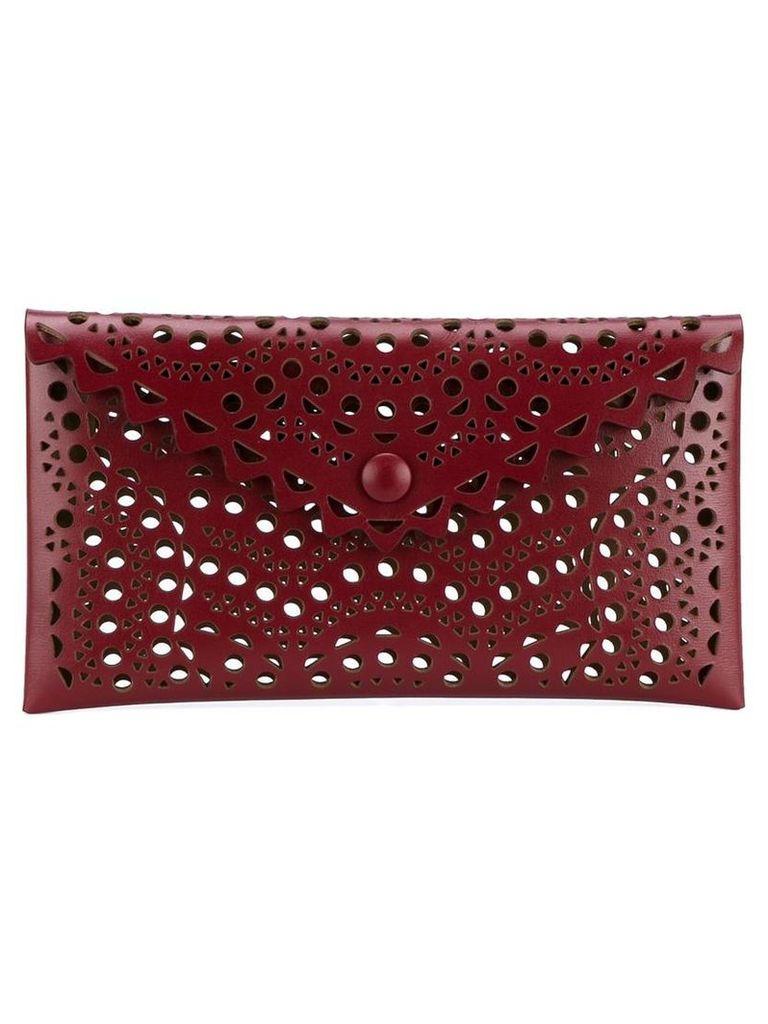 Alaïa Laser Cut Leather Envelope Clutch, Women's, Red