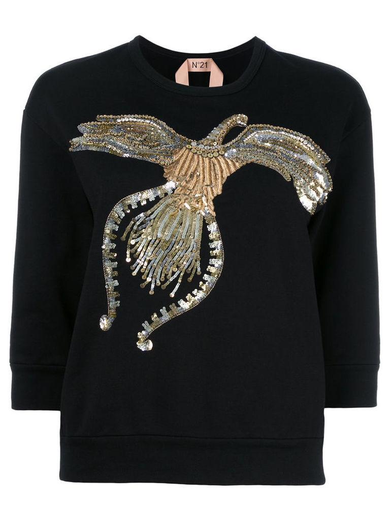 No21 sequined sweatshirt, Women's, Size: 40, Black