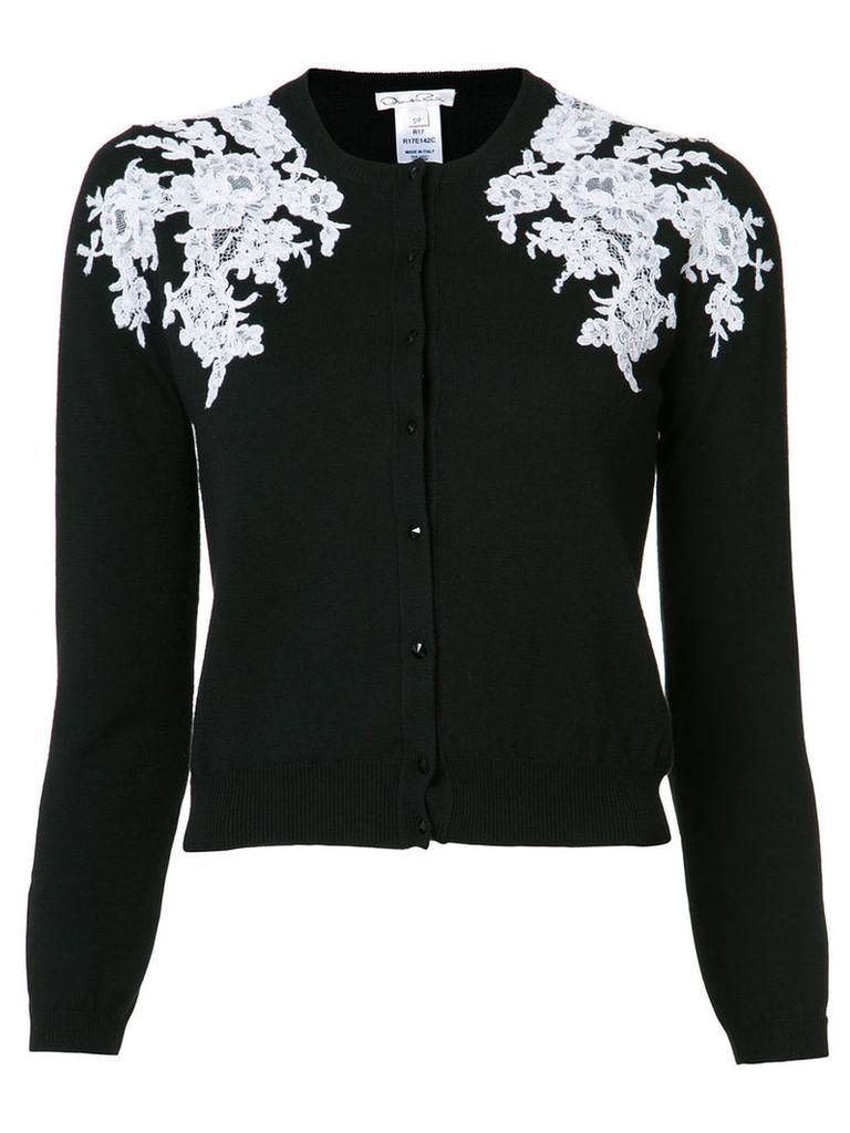 Oscar de la Renta lace applique cardigan, Women's, Size: Small, Black