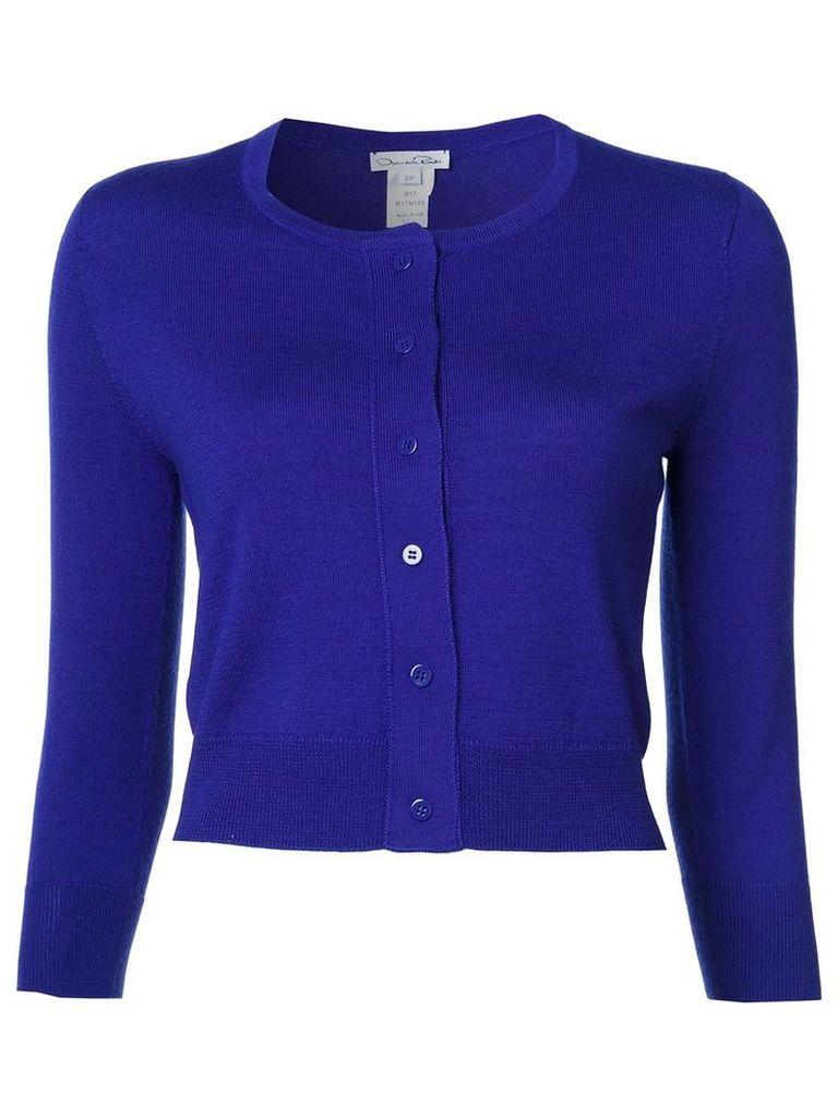 Oscar de la Renta crew neck cardigan, Women's, Size: Medium, Pink/Purple
