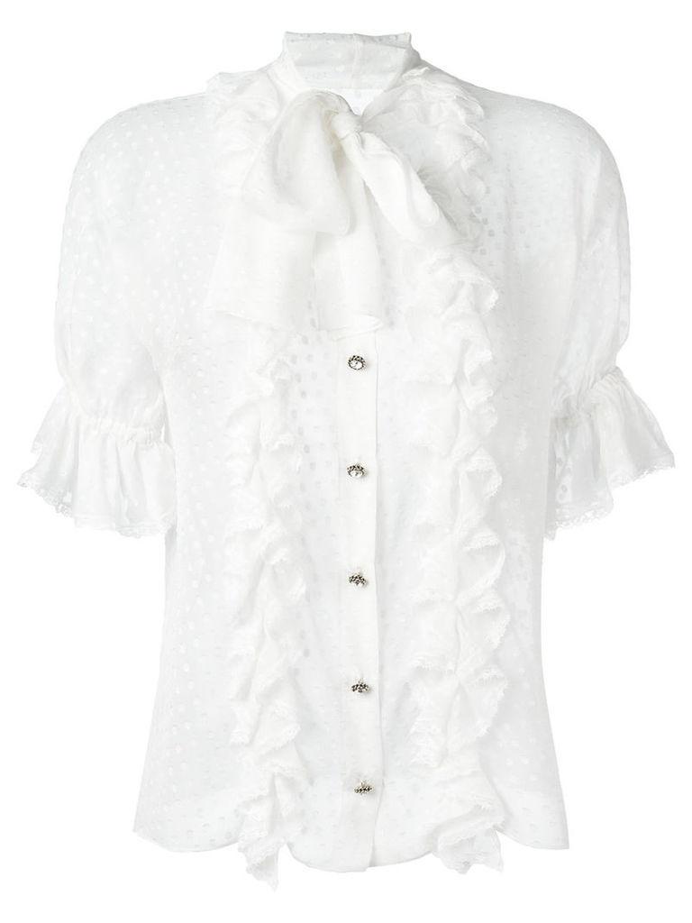 Dolce & Gabbana polka dot ruffled blouse, Women's, Size: 44, White