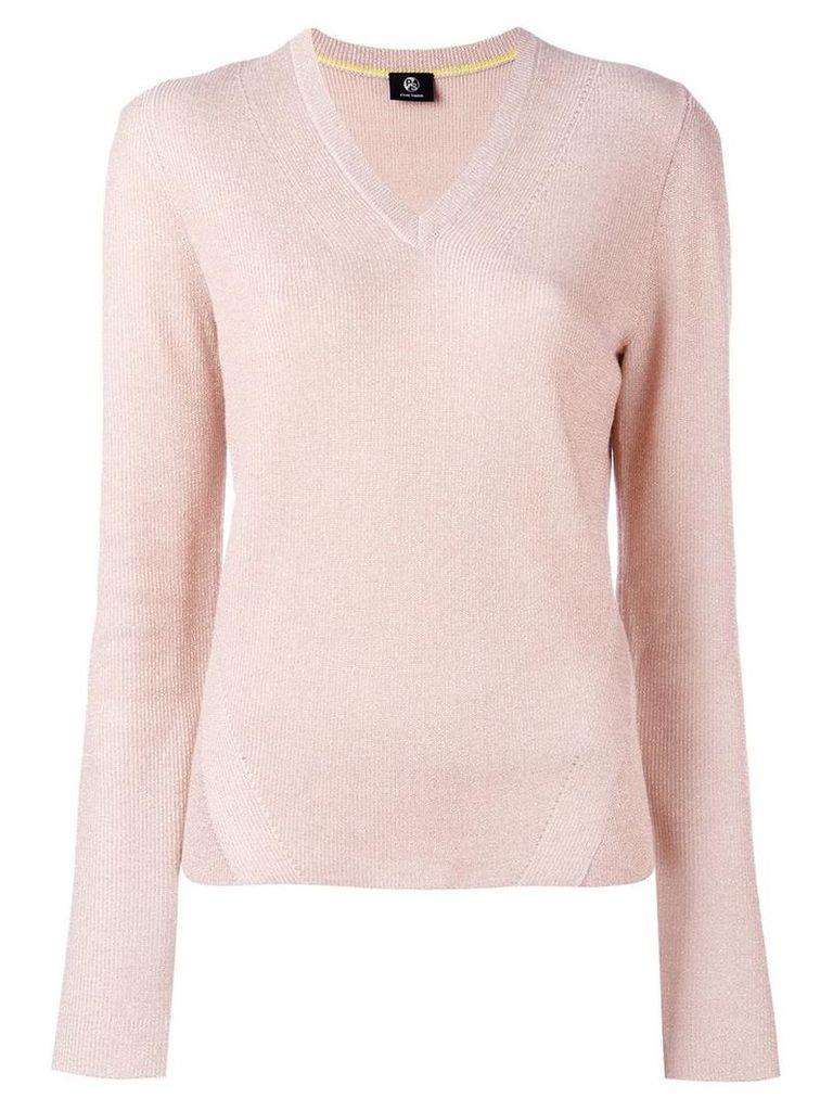 Ps By Paul Smith glitter effect V-neck jumper, Women's, Size: XL, Pink/Purple
