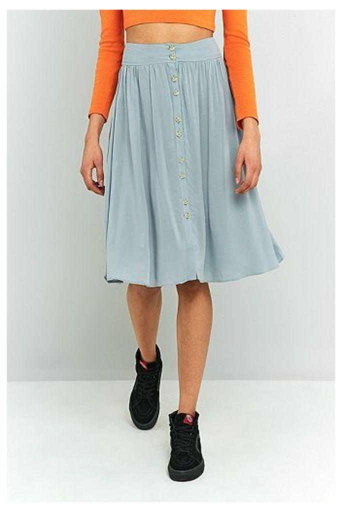 Ecote Kara Button Front Midi Skirt, Grey