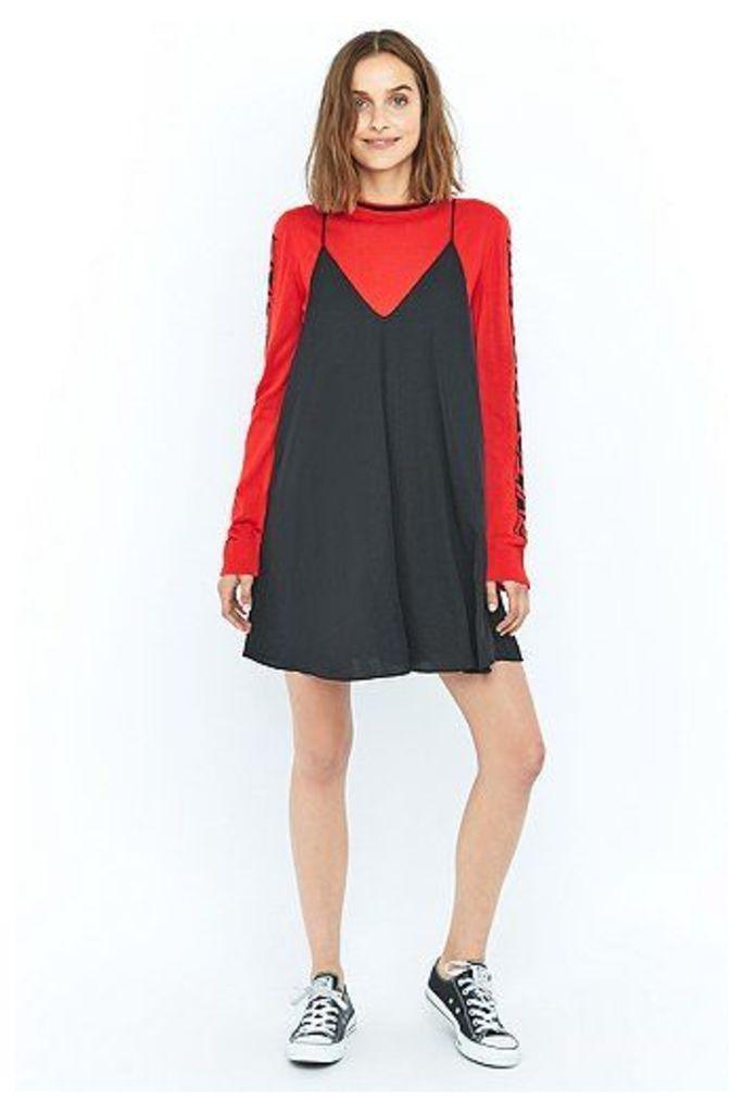 Pins & Needles Hammered Satin Slip Dress, Black