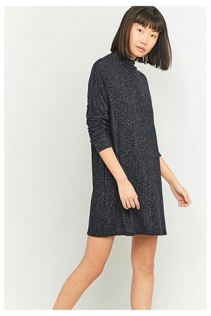 Urban Outfitters Cosy Black Ribbed Turtleneck Dress, Black