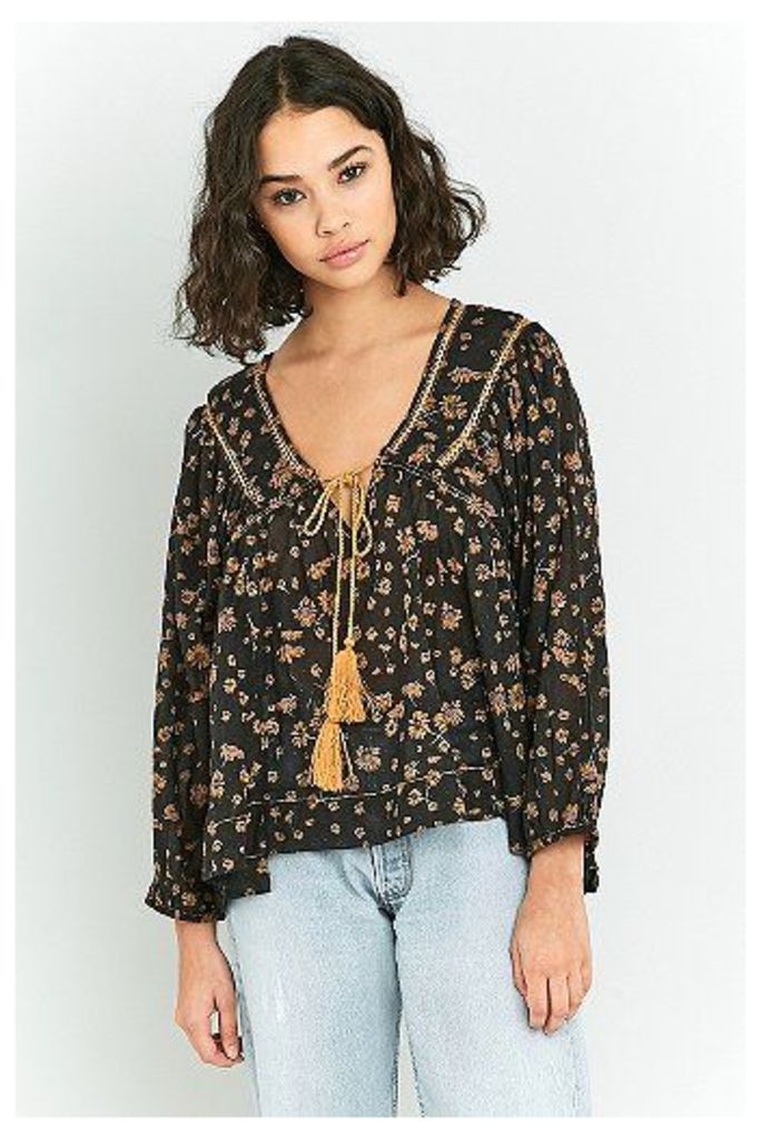 Free People Never A Dull Moment Floral Blouse, Black
