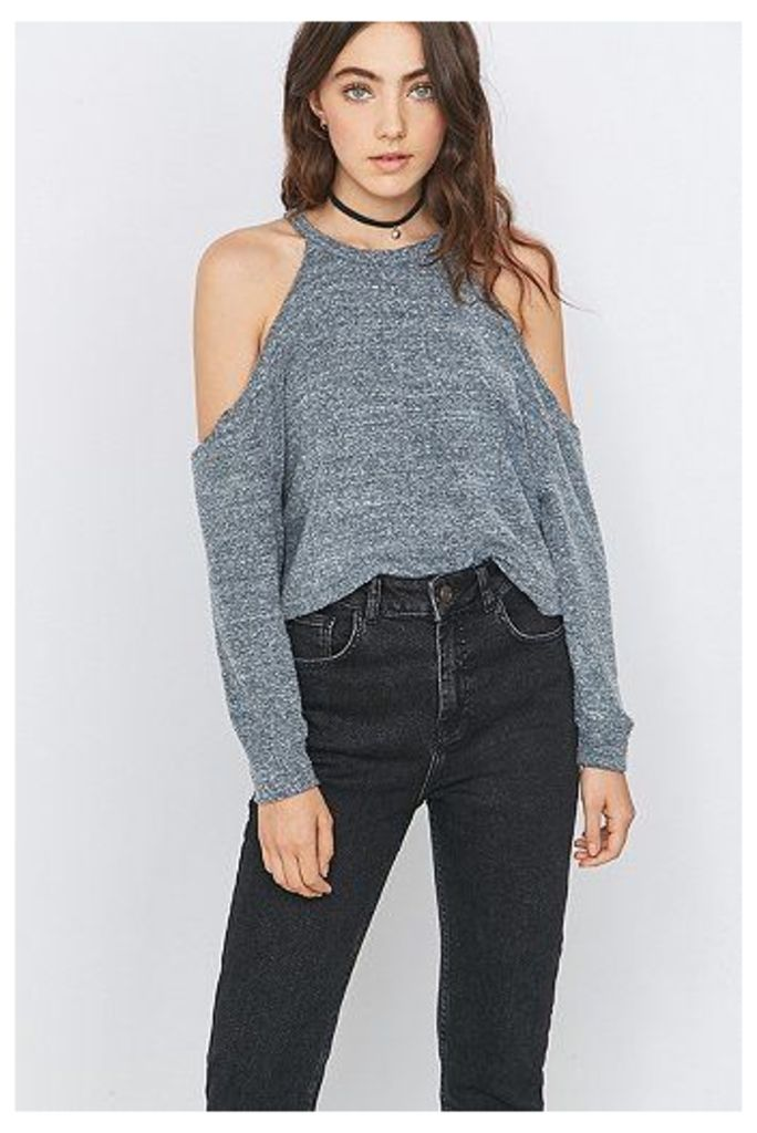 Urban Outfitters Cosy Cold Shoulder Grey Top, Grey