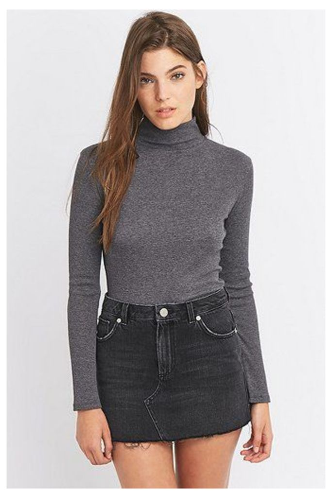 Urban Outfitters Long Sleeve Ribbed Turtleneck Top, Dark Grey