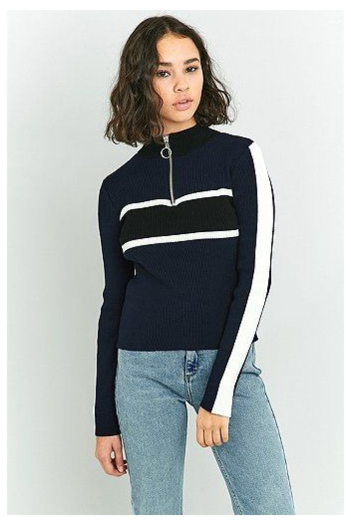 Urban Outfitters Placement Striped Funnel Neck Jumper, Navy