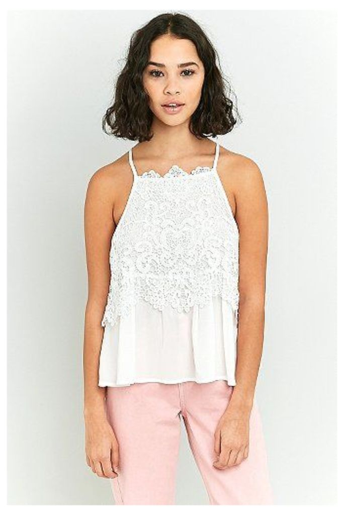 Pins & Needles Lace Overlay Cami, White