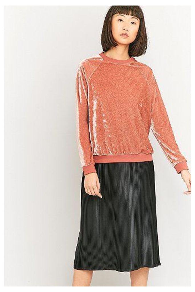 Urban Outfitters Luxe Pink Velvet Sweatshirt, Pink