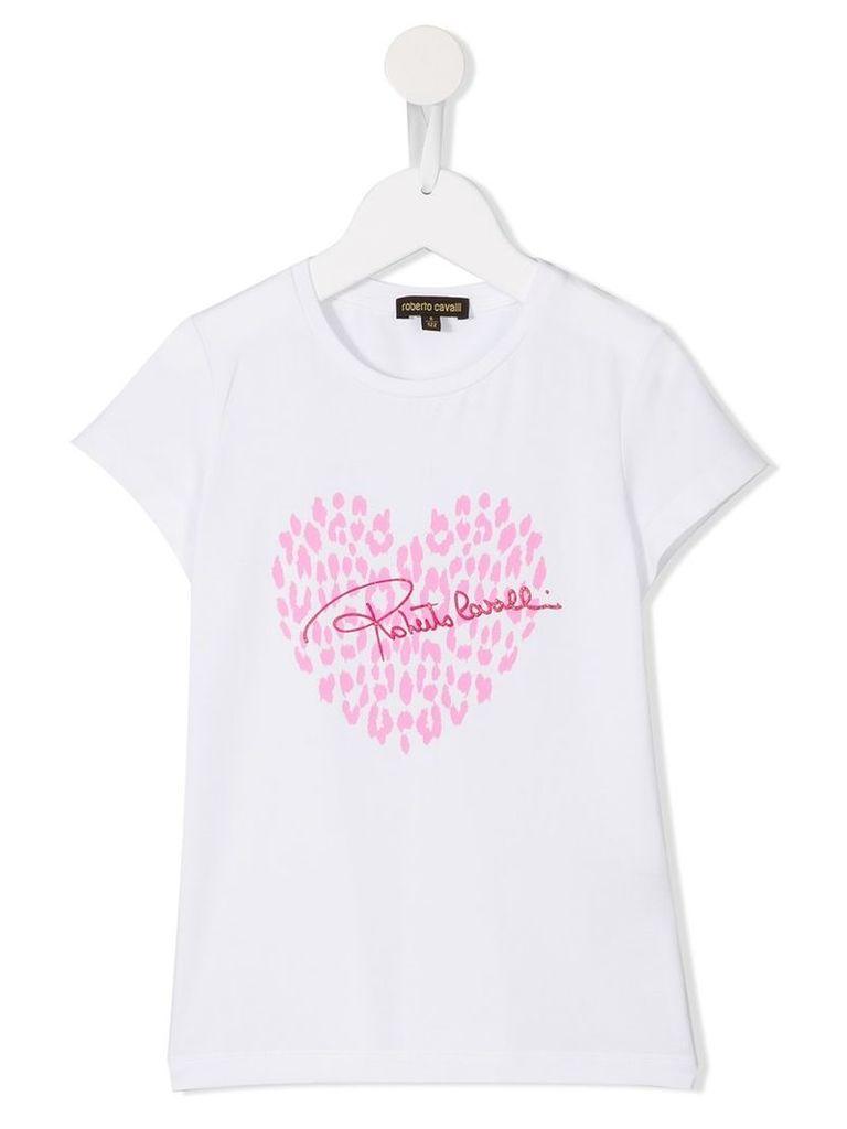 Roberto Cavalli Kids animal heart logo print T-shirt, Girl's, Size: 8 yrs, White