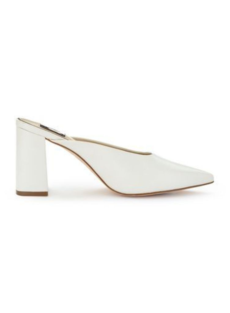 Womens LUCIE Pointed Backless Court Shoes, White