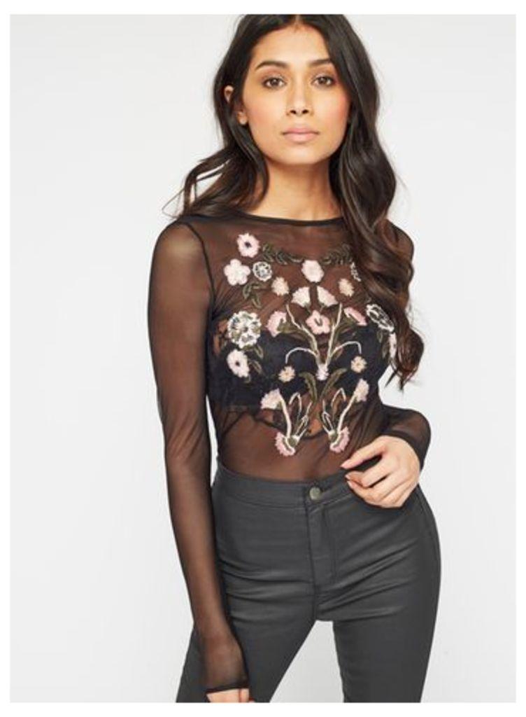 Womens Black Embroidered Mesh Body, Black