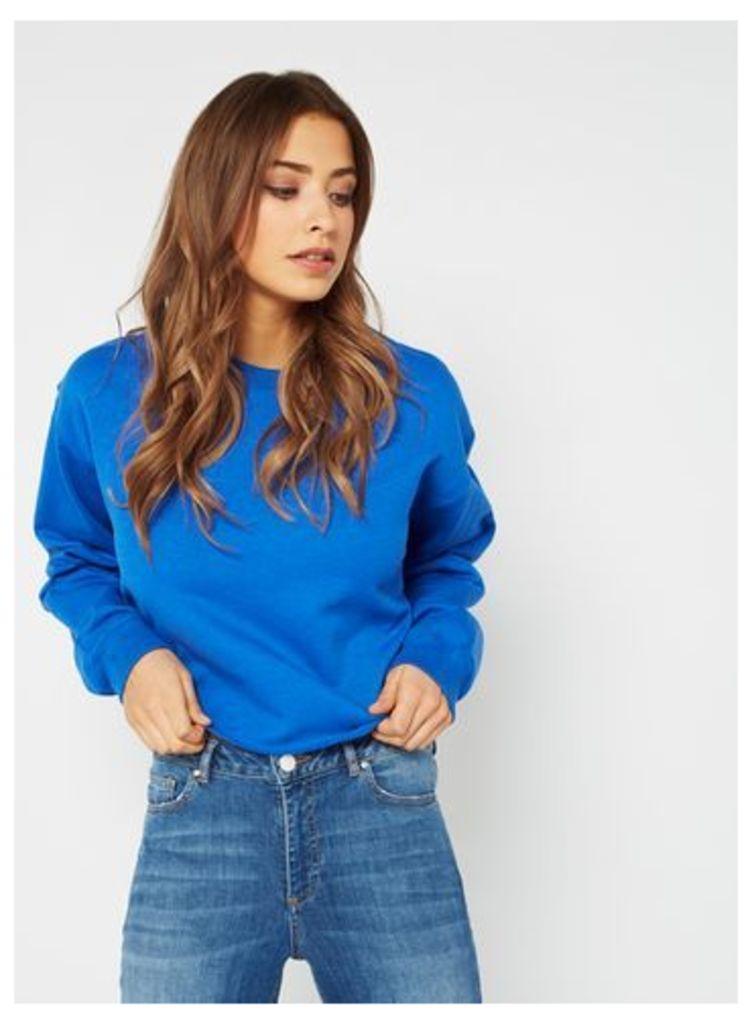 Womens Cobalt Cropped Sweatshirt, Cobalt blue