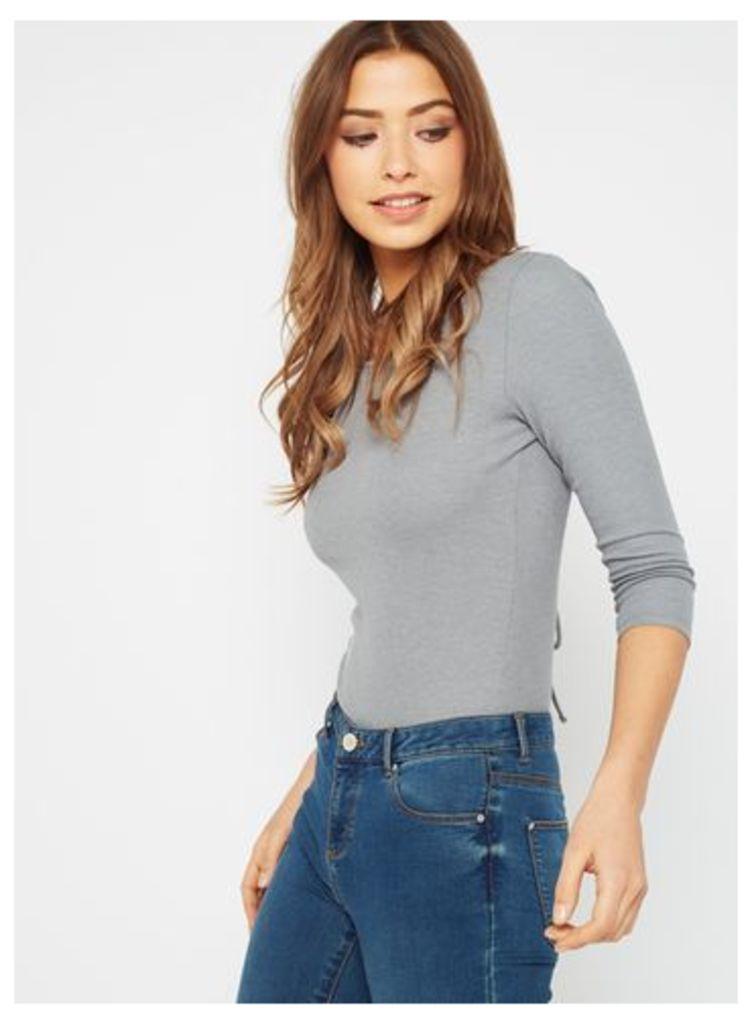 Womens Grey Lattice Back Body, Grey